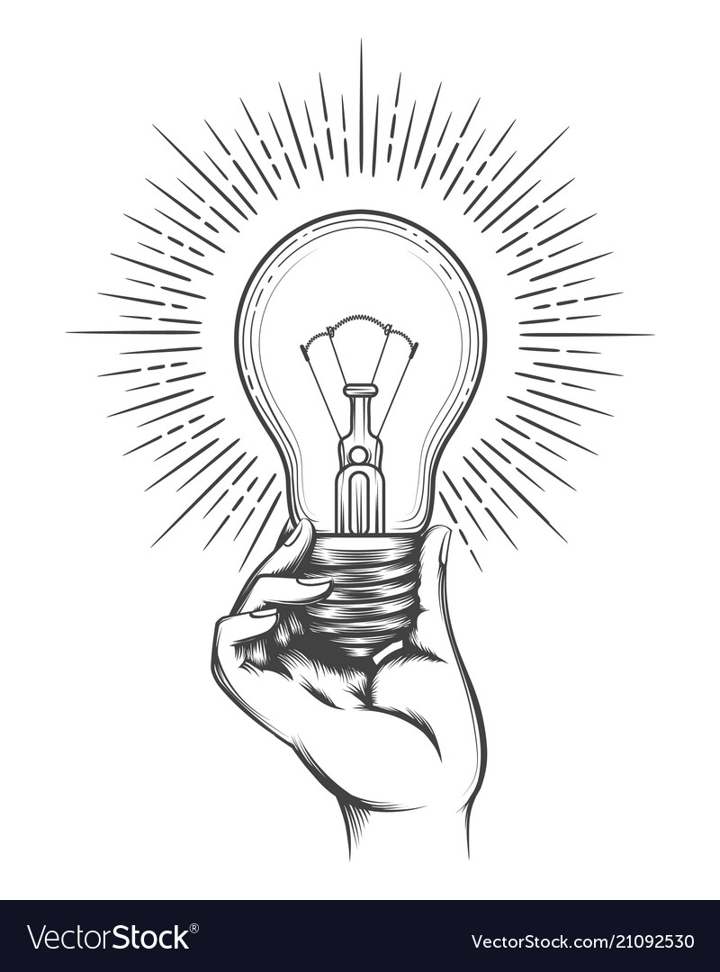 Hand Holding Light Bulb Sketch Royalty Free Vector Image