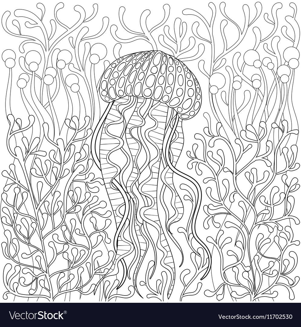 Jellyfish medusa in zentangle style Hand drawn Sea