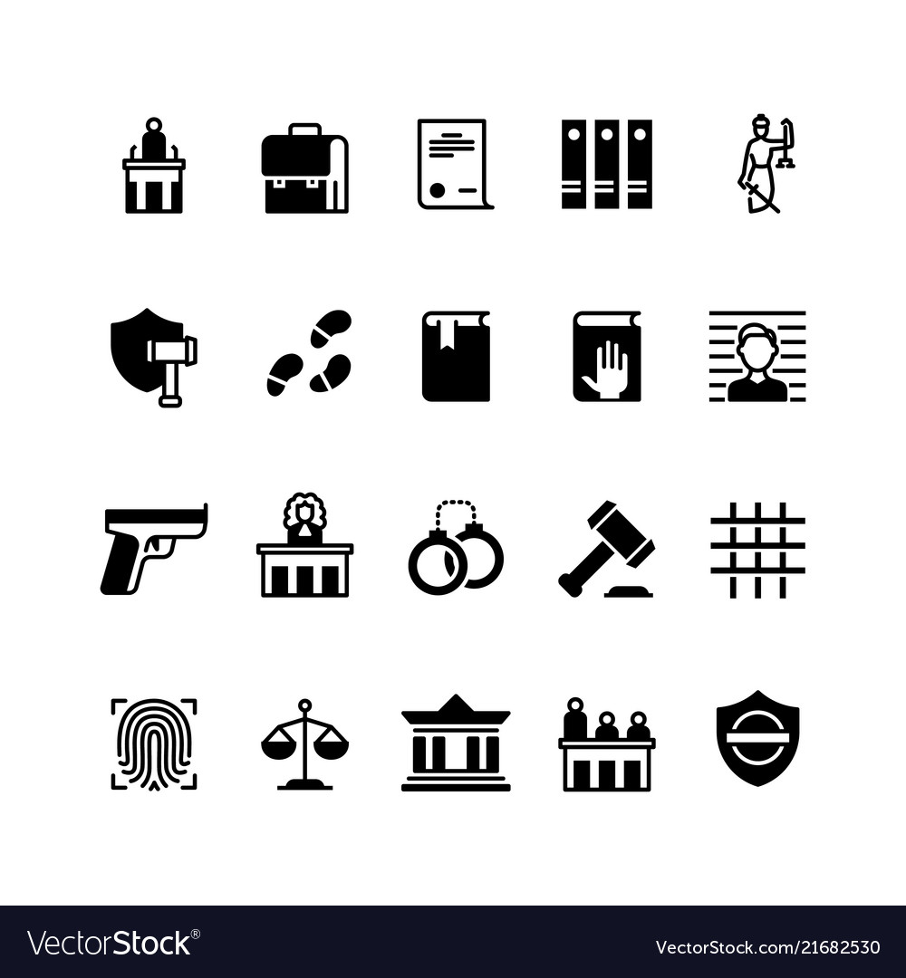 Law and justice icons legislation and court