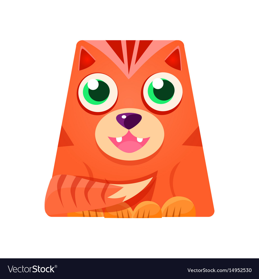 Lovely geometric tiger in the shape of a trapezoid vector image