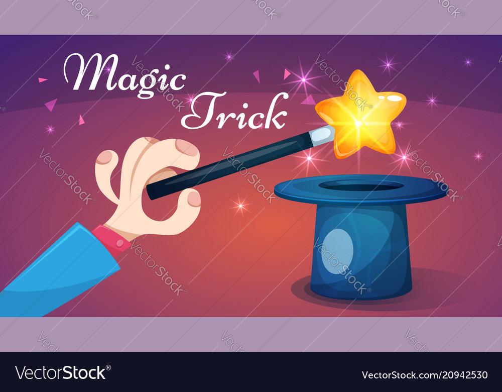 Magic wand trick - cartoon