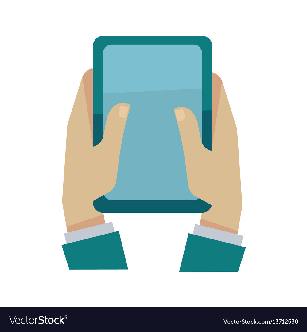 Man holding digital tablet in hands isolated on vector image