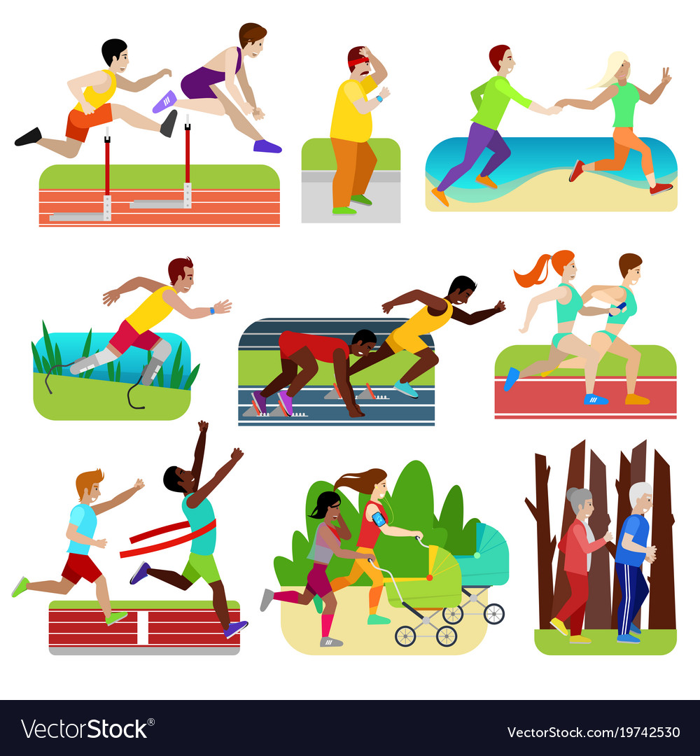 People fitness running athlet character