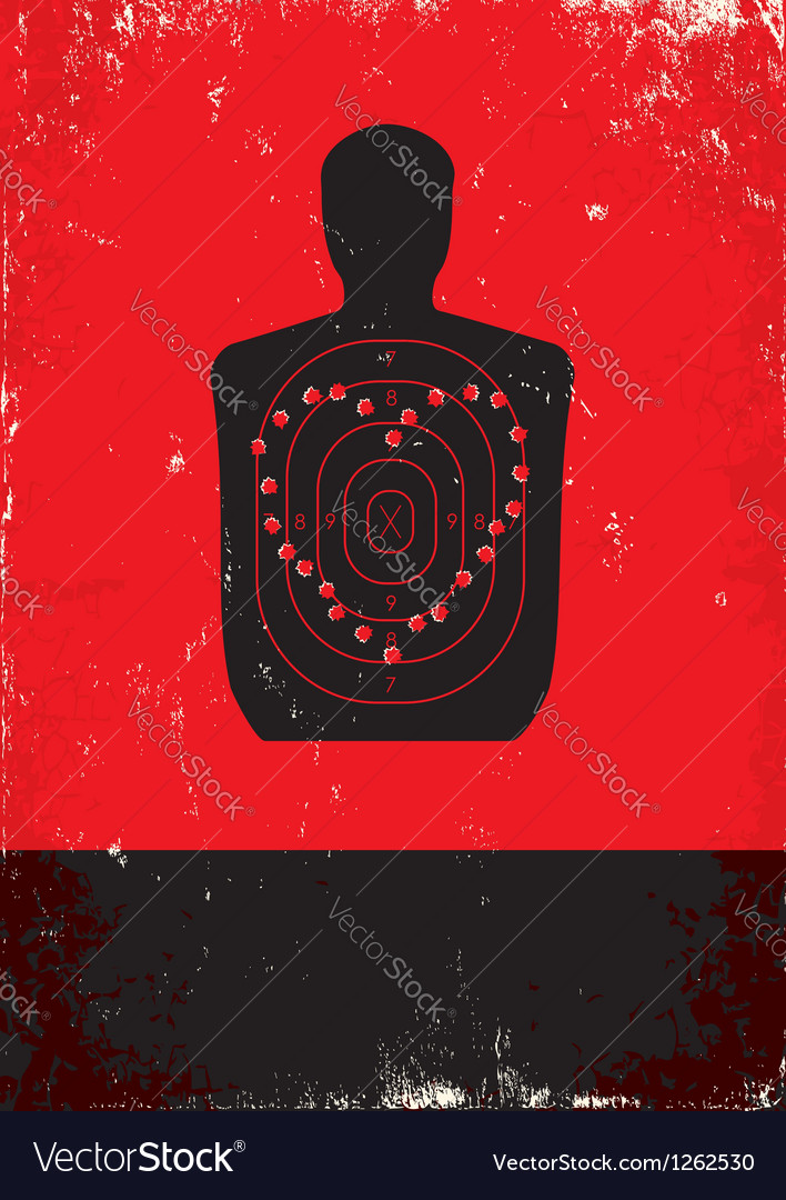 Red and black poster with target vector image