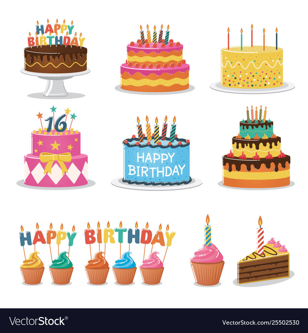 Miraculous Set Birthday Cakes And Birthday Party Elements Vector Image Personalised Birthday Cards Veneteletsinfo