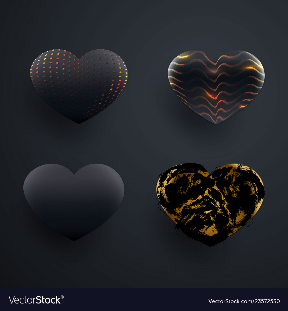 Set of beautiful textured black 3d glossy heart