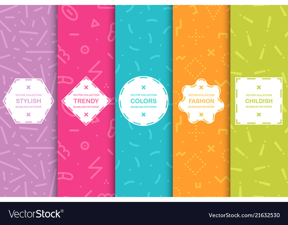 Set of colorful seamless creative patterns bright