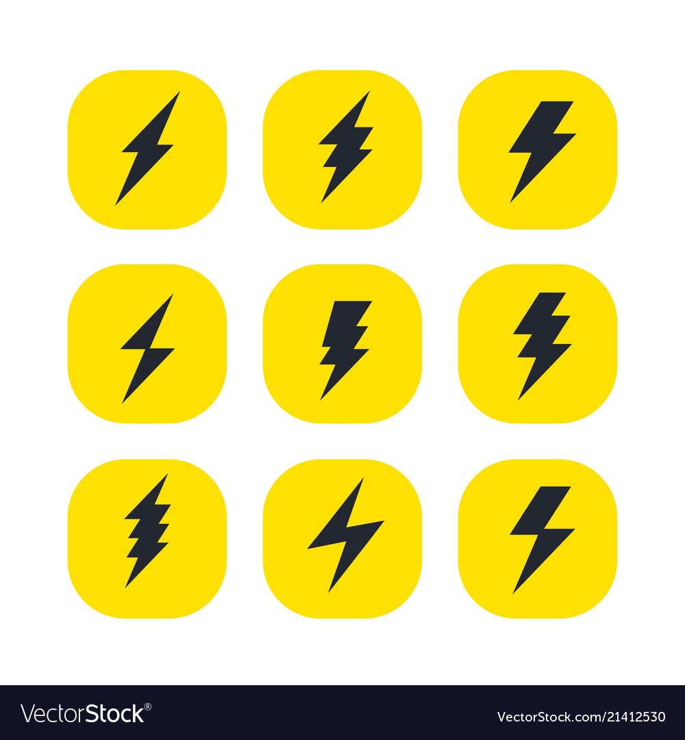 Set of the bolts of lightning minimalistic
