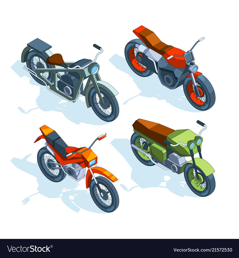 Sport bikes isometric 3d pictures of various
