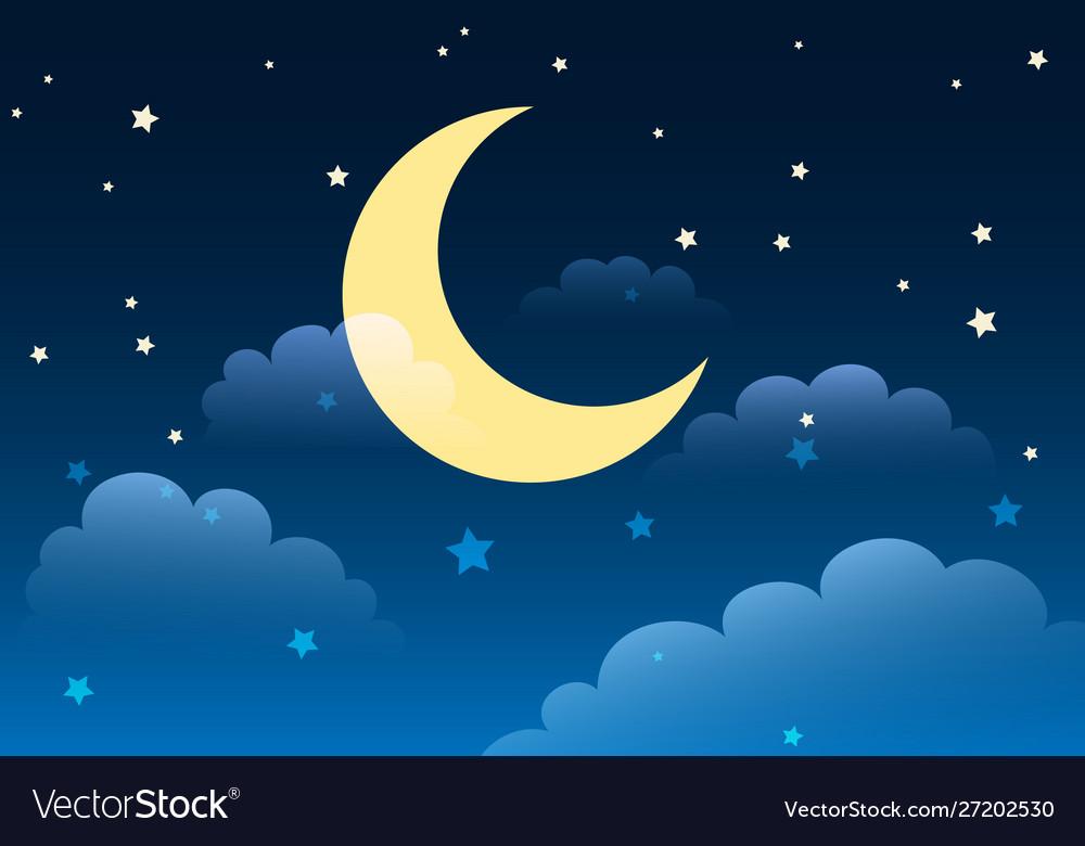 Starry night sky cartoon background