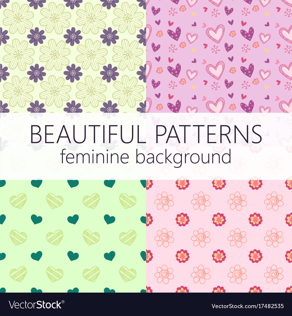 beautiful girly seamless abstract pattern set vector image