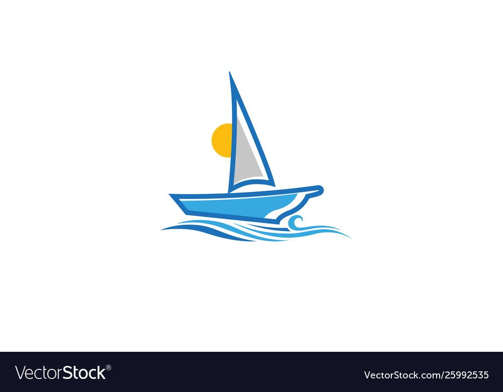 Creative blue yacht boat logo design symbol