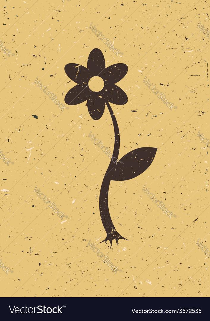 Flower on old cardboard