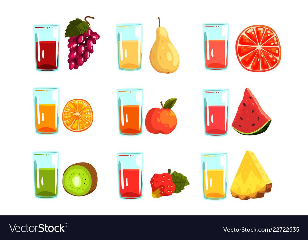 Fruit juices set orange apple watermelon kiwi