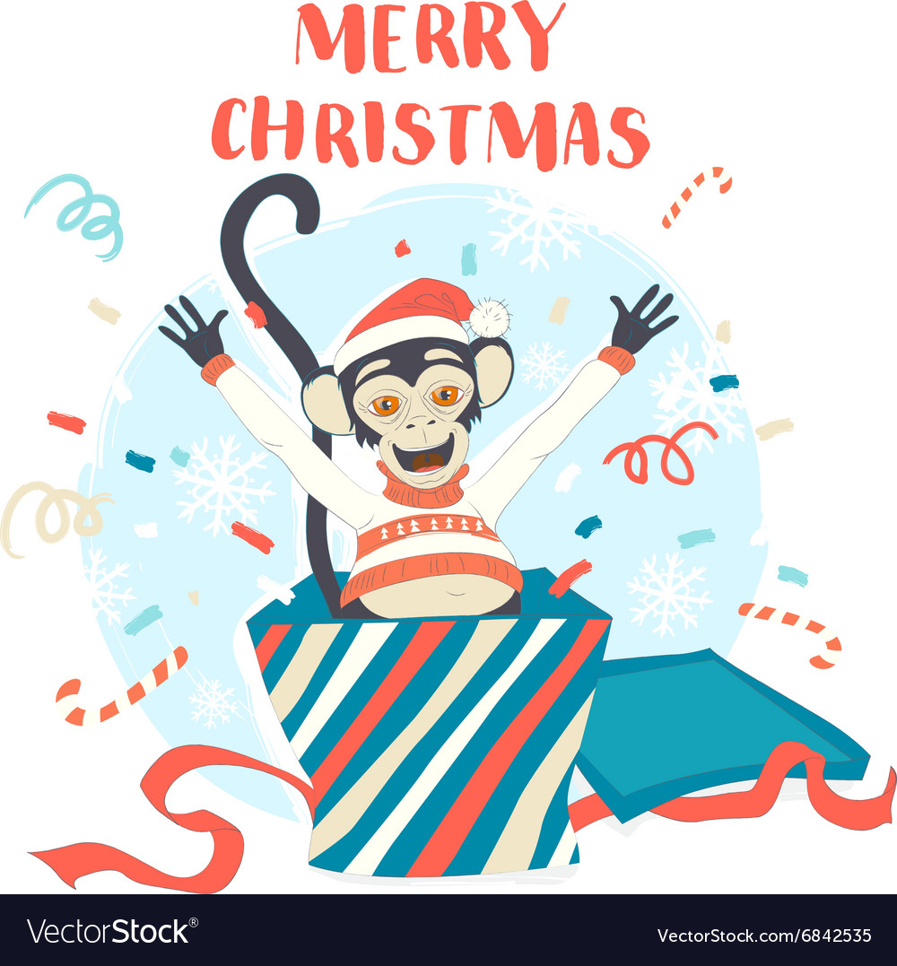 Funny Merry Christmas Card With Monkey Jumping Out