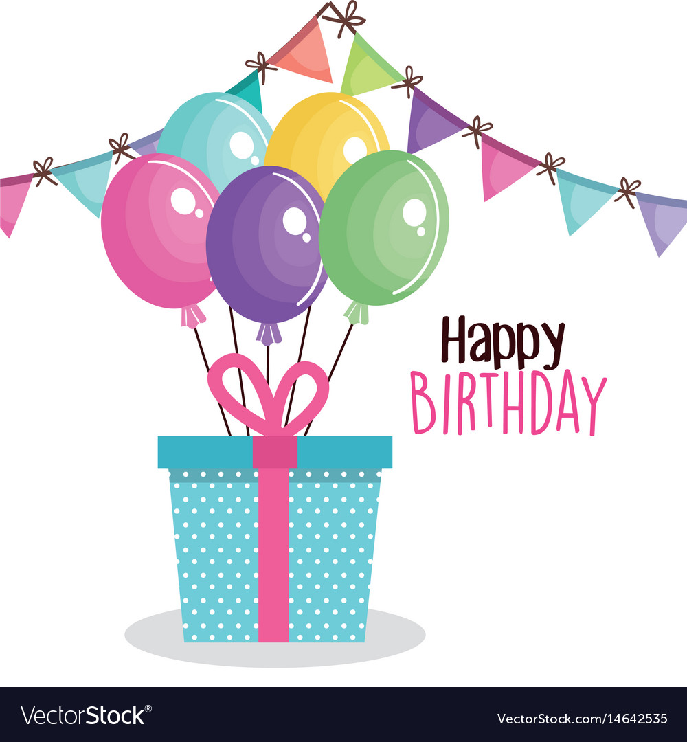 Happy birthday card with giftbox