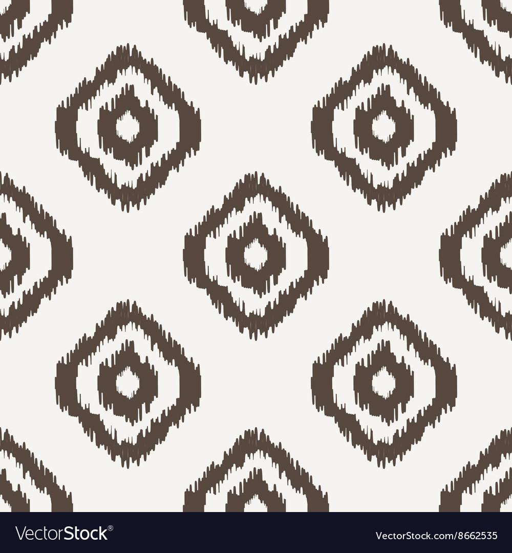 Ikat geometric seamless pattern White and brown