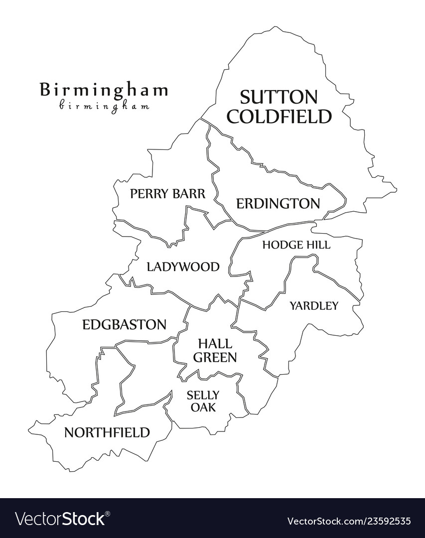 Map Of Birmingham England.Modern City Map Birmingham City Of England With