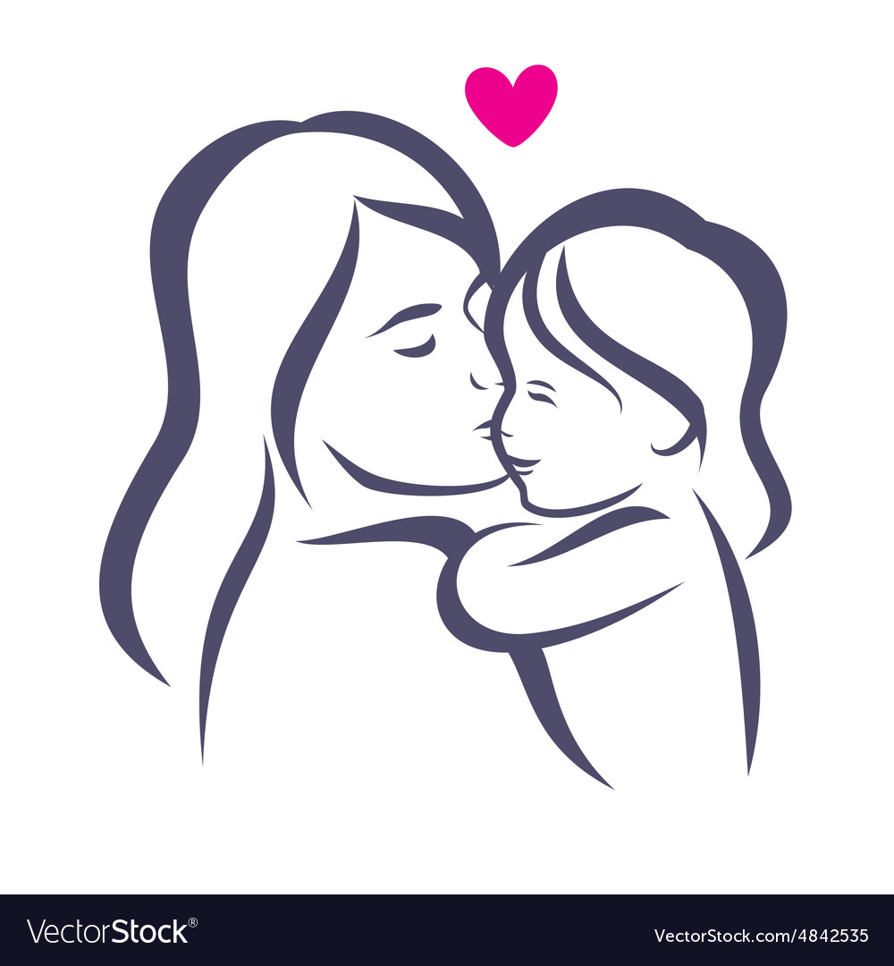 Mother and daughter stylized silhouette outlined