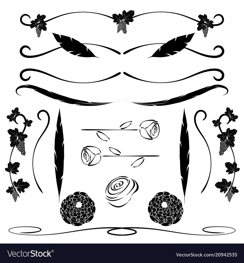 Ornate calligraphic lines and page decoration vector image
