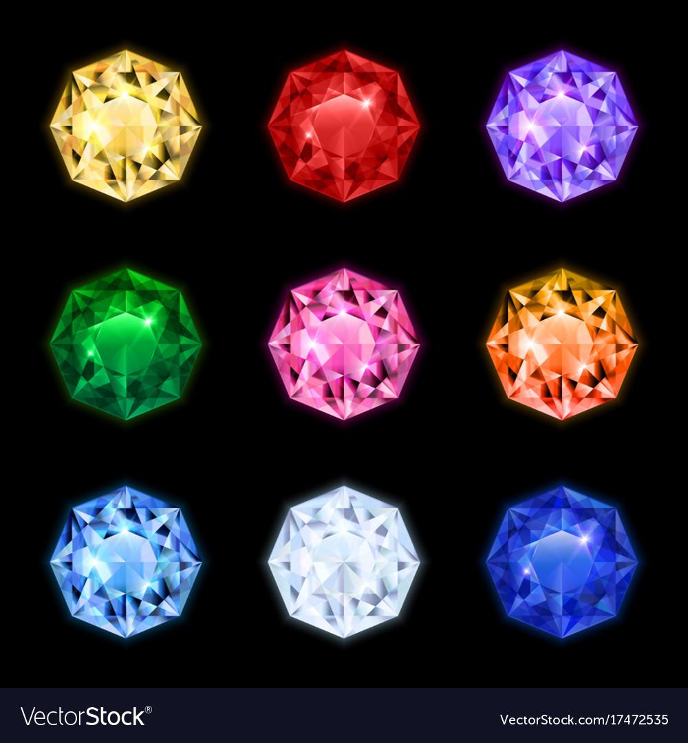 Realistic diamond gemstone icon set