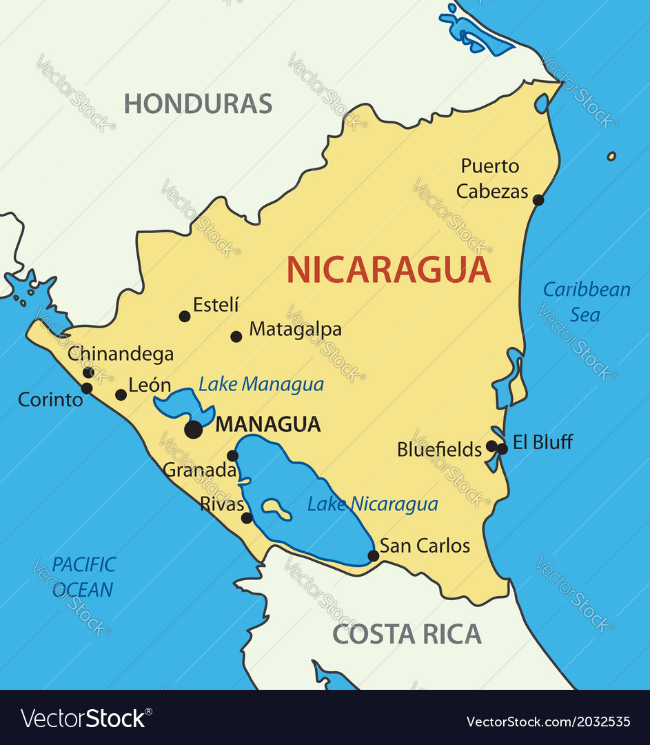 Republic of Nicaragua - map Royalty Free Vector Image