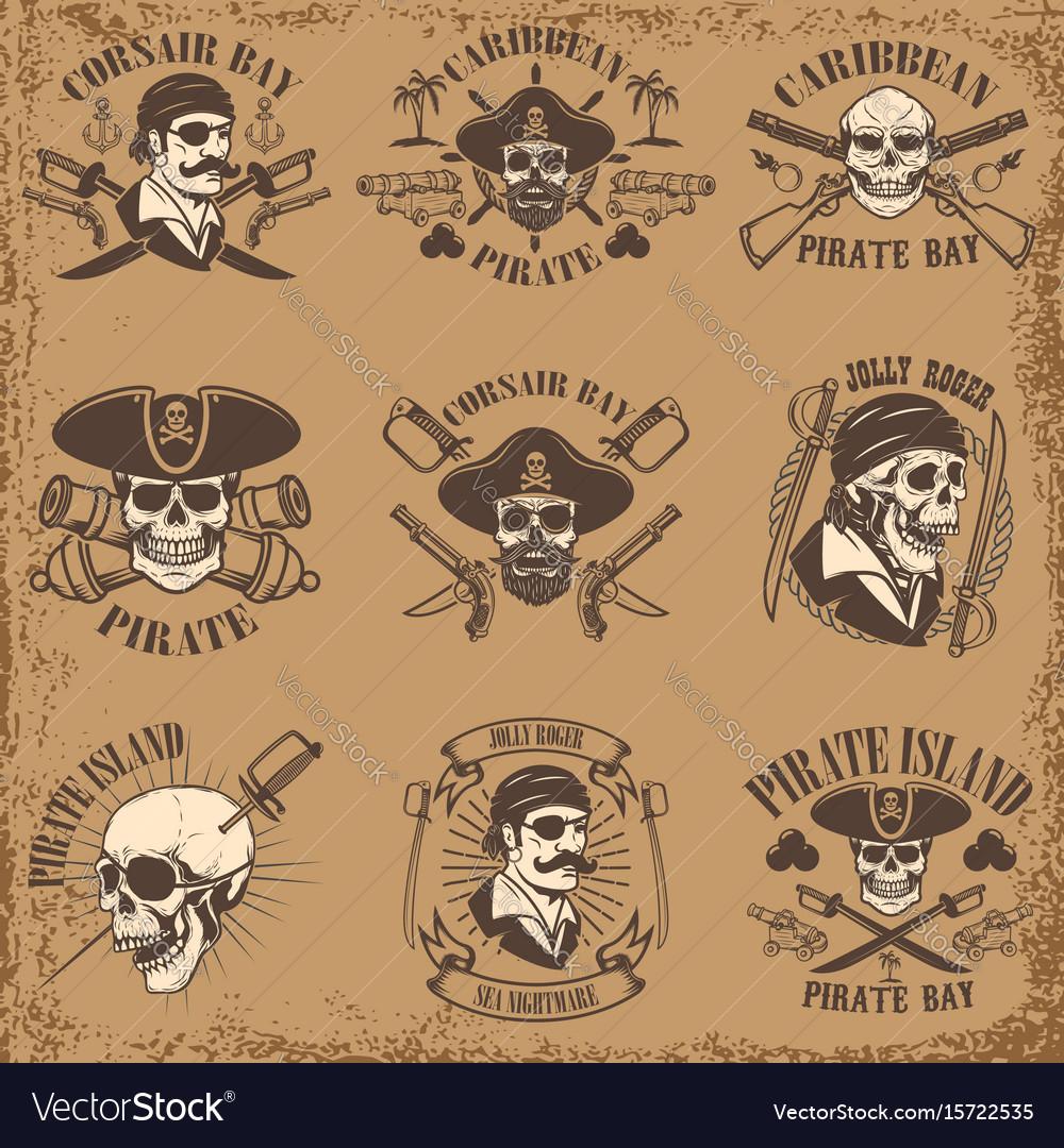 Set of pirate emblems on grunge background