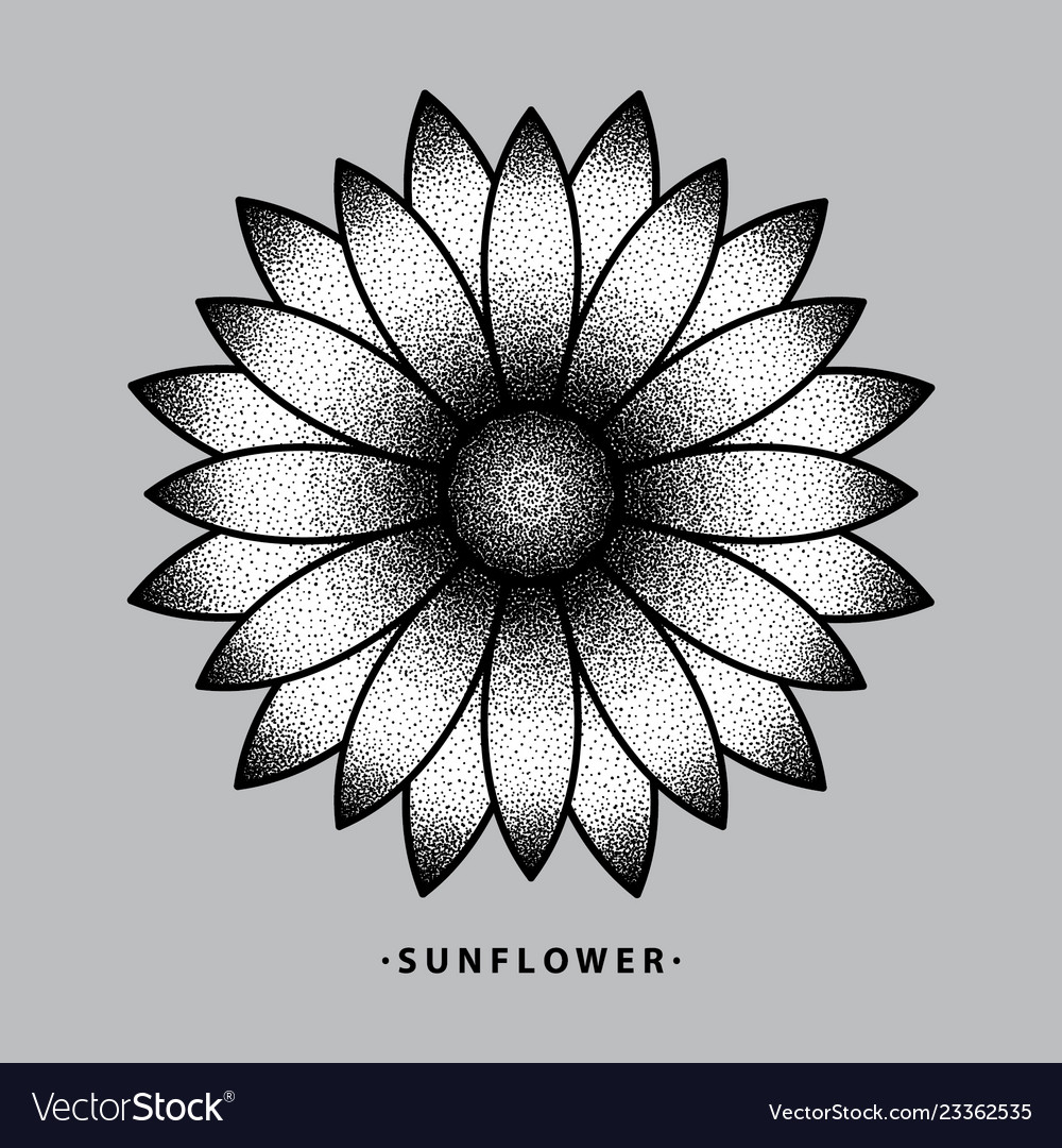 Sunflower Tattoo Design Royalty Free Vector Image