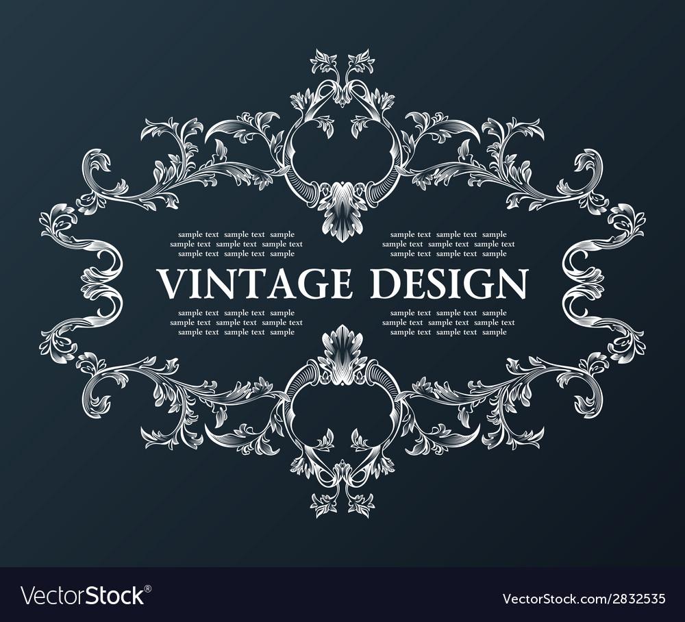 Vintage royal old frame ornament decor black