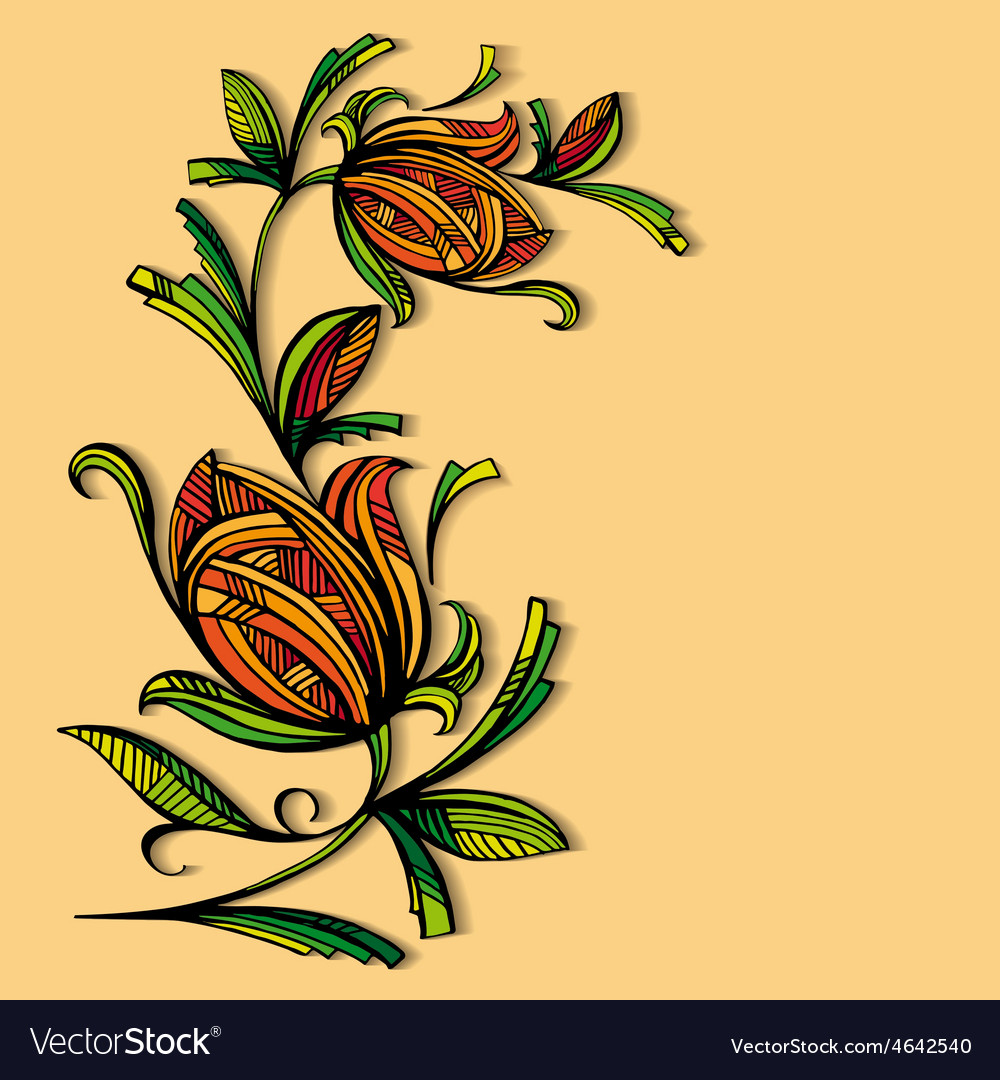 Abstract floral pattern on a warm background vector image