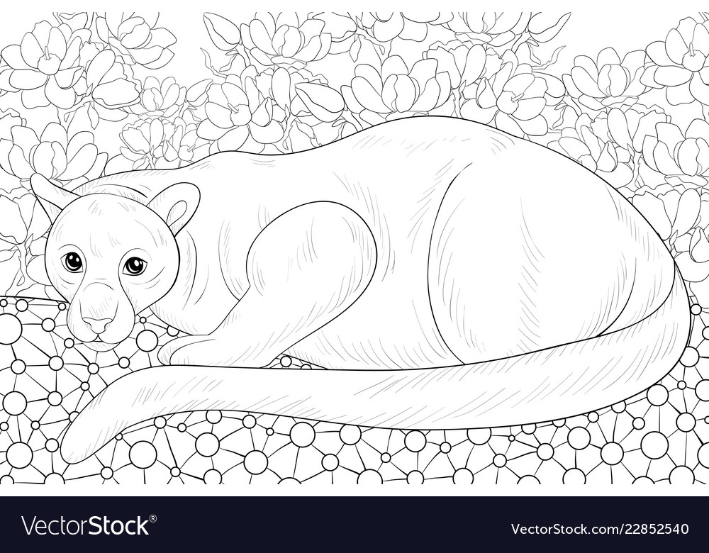 Adult coloring bookpage a cute panther on the
