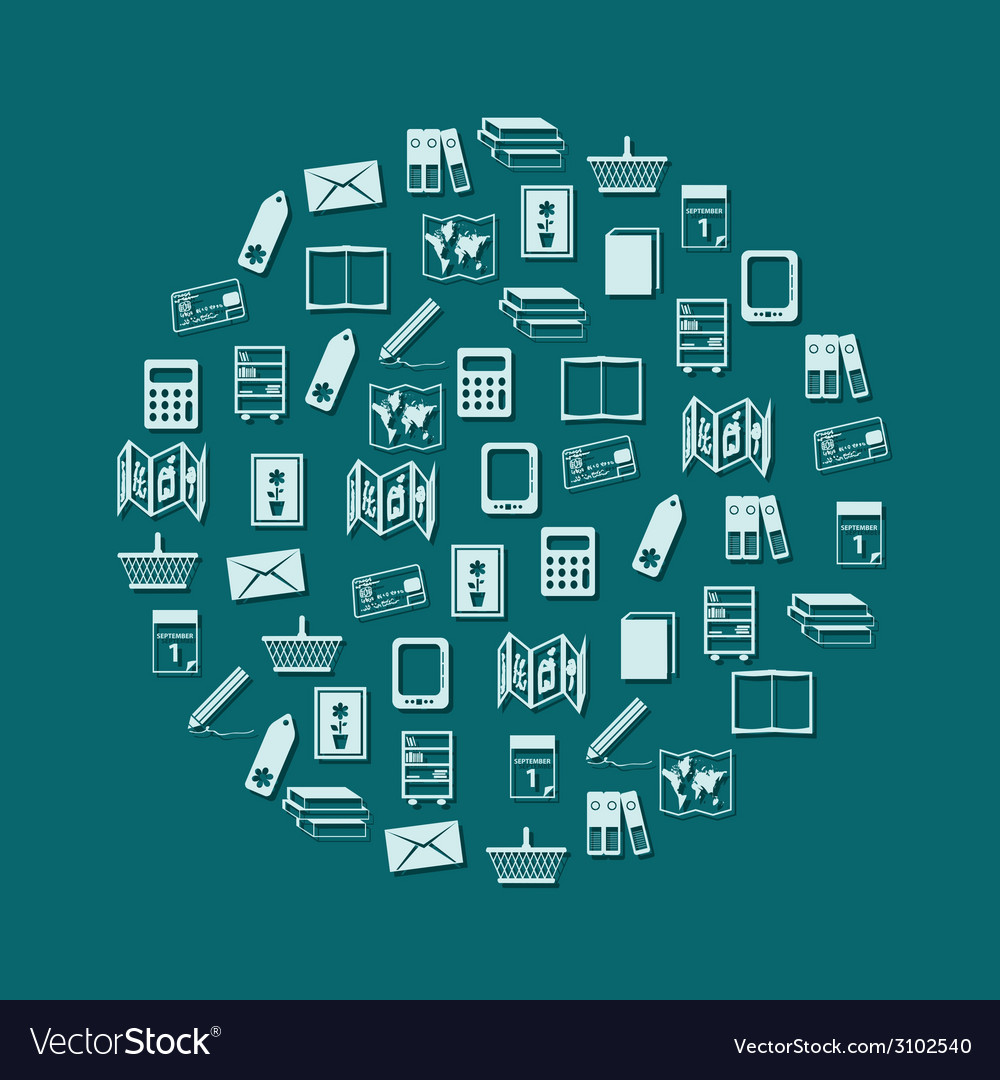 Bookshop icons in circle vector image
