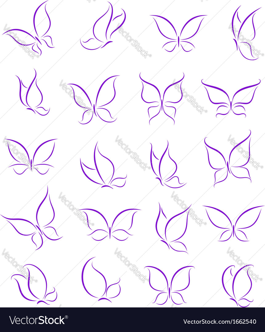 Butterfly silhouettes set vector image