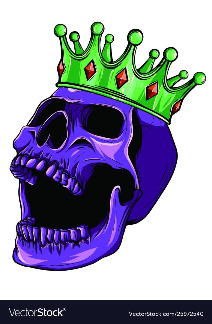 Hand drawn king skull wearing crown