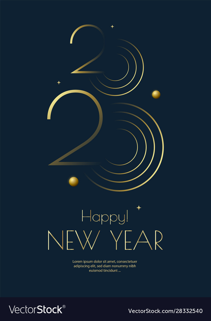 Happy new year 2020 greeting card design template