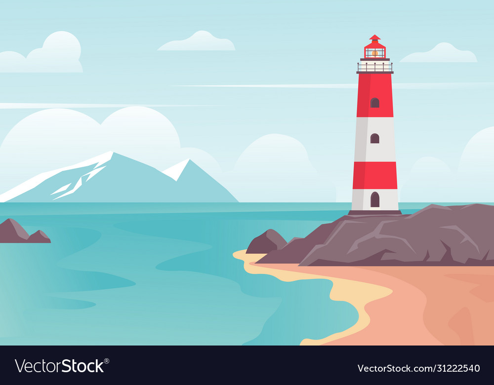 Lighthouse in bay on beach lighthouse tower on