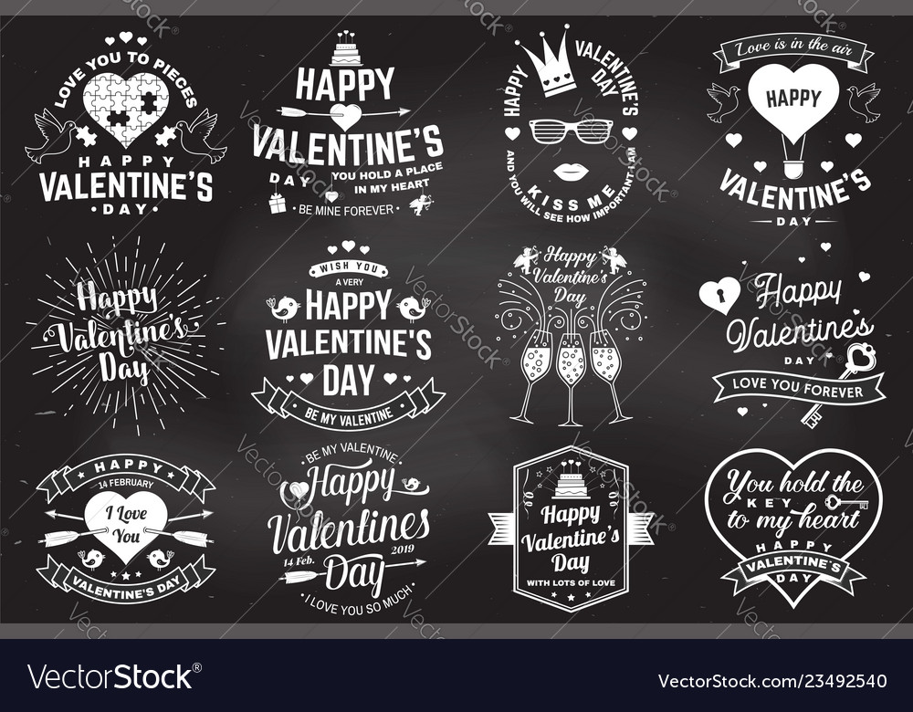 Set of happy valentines day sign stamp card with