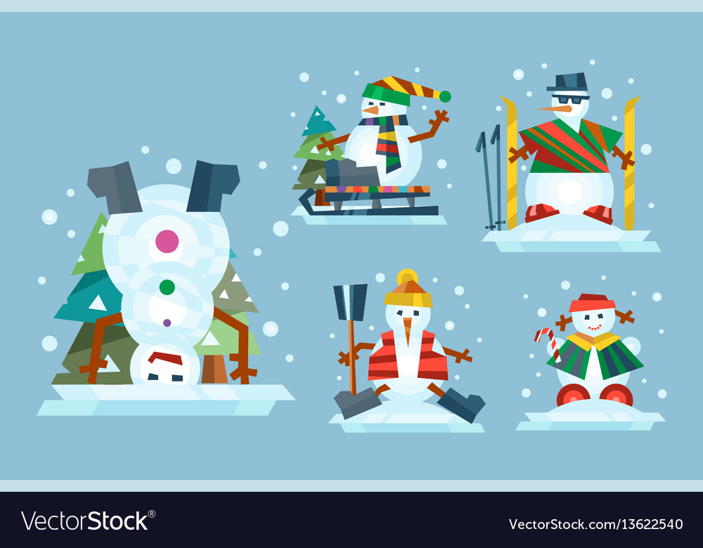 Winter holidays snowman cheerful character in cold