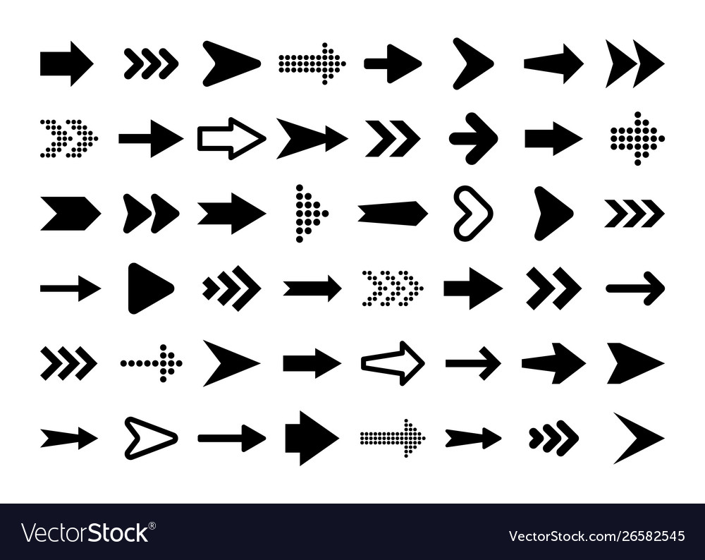 Black arrows set on white background arrow
