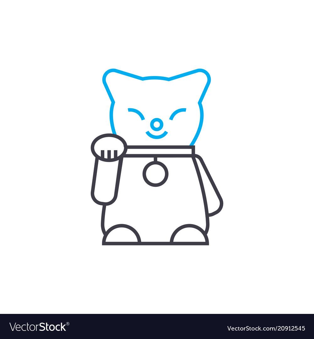 Cat statuette linear icon concept cat statuette