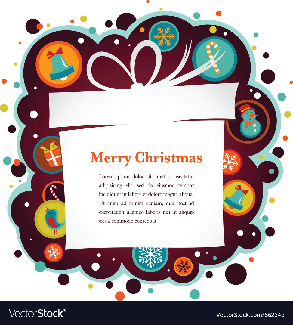 Christmas background with gift box and cute icons vector image