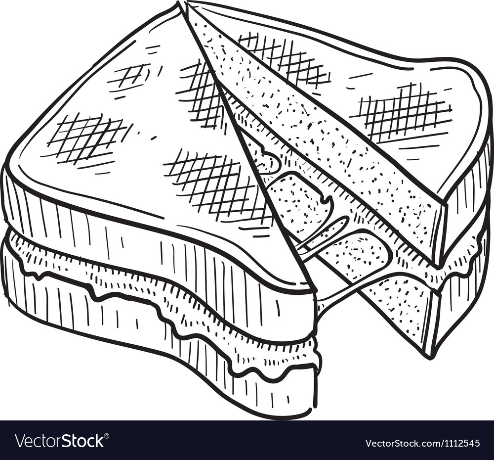 Doodle food grilled cheese vector image