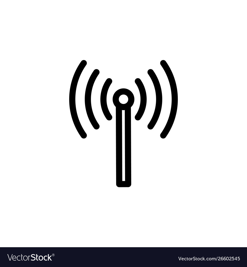 Flat line single radio antenna icon symbol sign