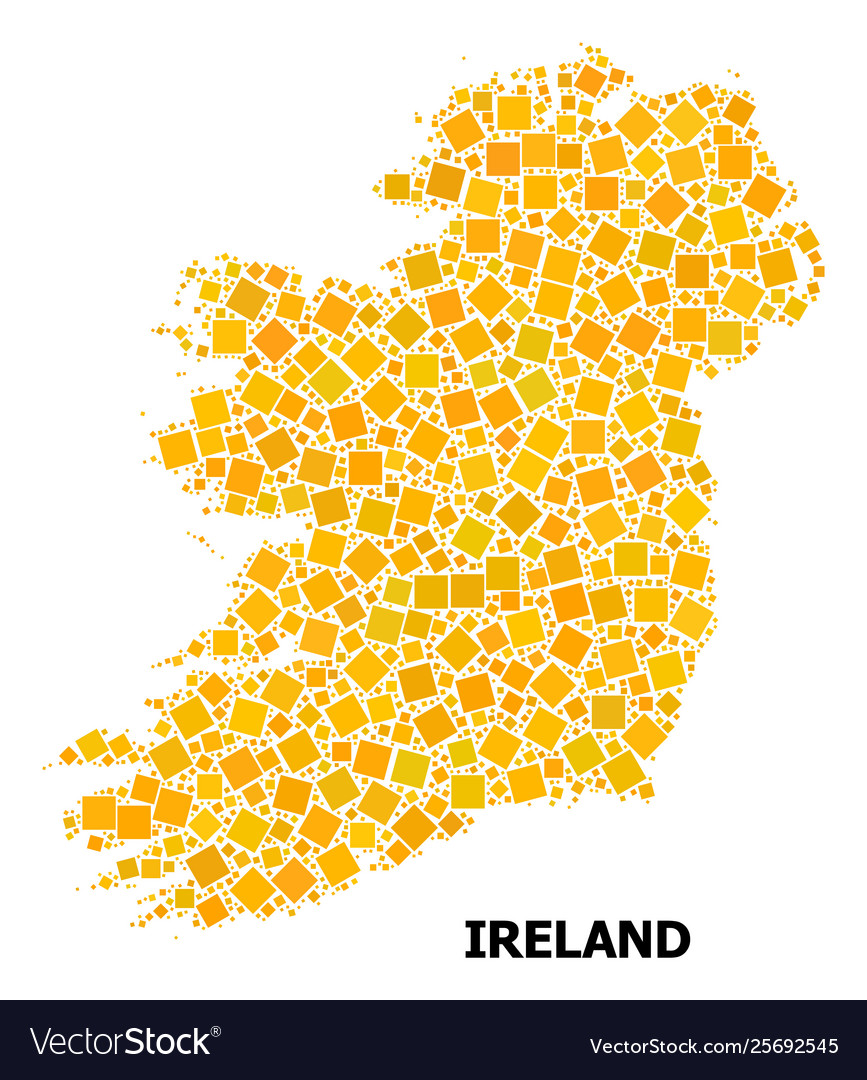 Map Of Ireland Islands.Gold Rotated Square Pattern Map Ireland Island