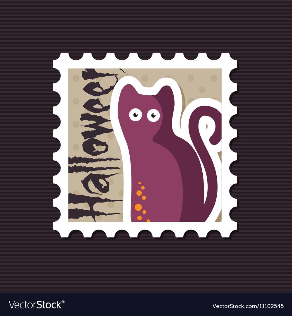 Halloween black cat stamp vector image