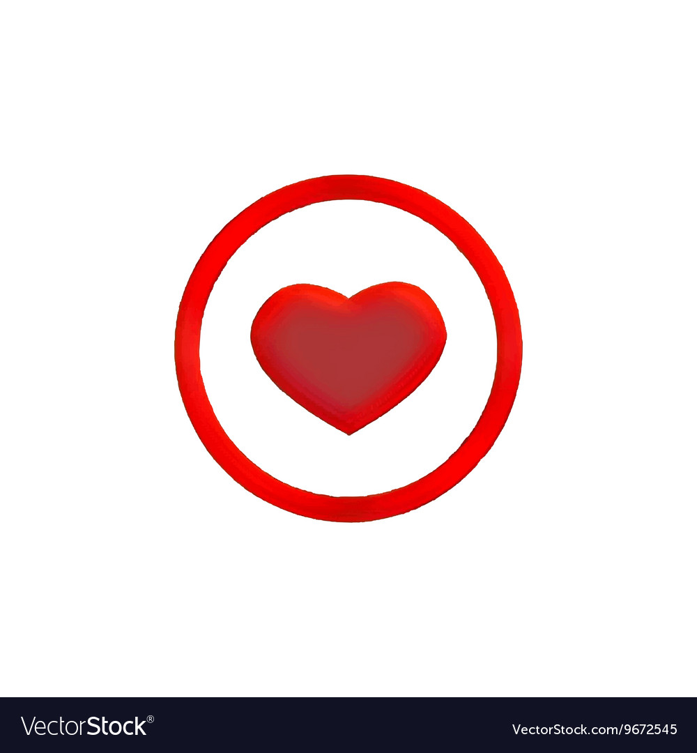 Heart in circle vector image