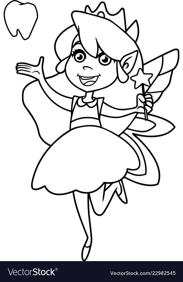Little Tooth Fairy Line Art Royalty Free Vector Image