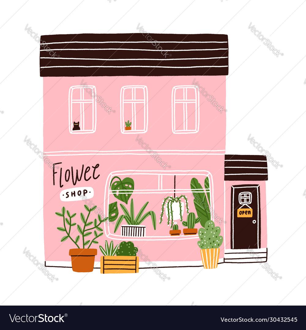 Pink flower shop house