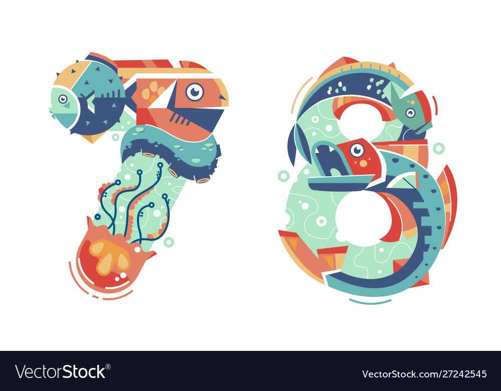 Summer ocean seasonal numbers seven six and