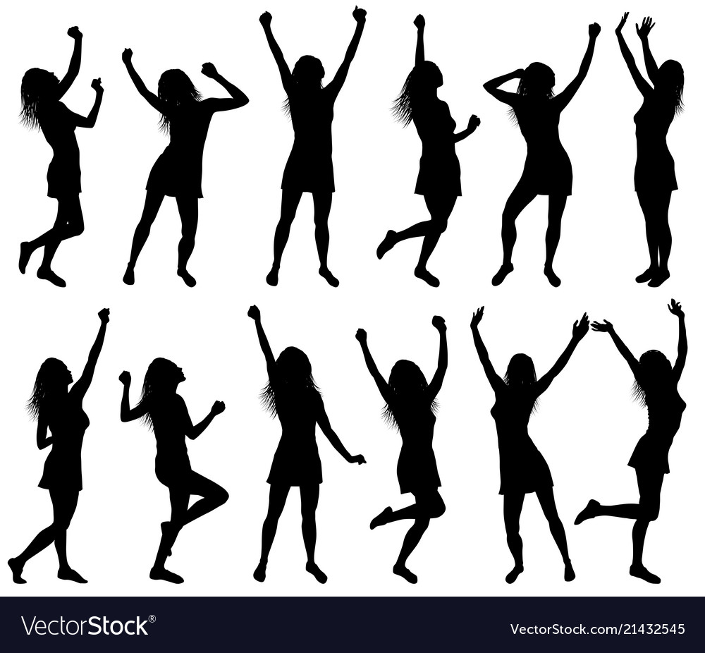 With happy dancing women silhouettes